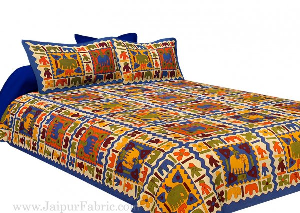 Blue Border Elephant Pattern Screen Print Double Bed Sheet