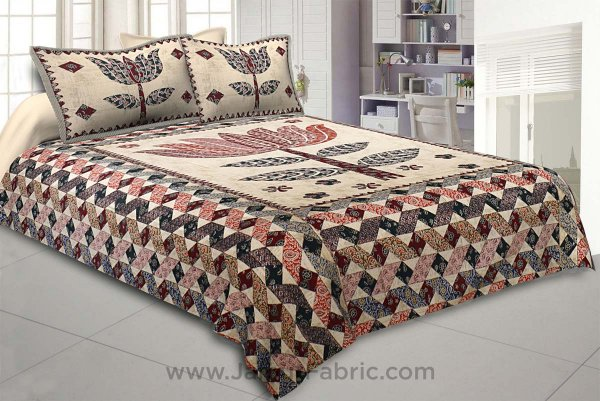 The Big Lotus in Cream Red Double BedSheet