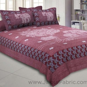 Elephant Love Cherry Giza Cotton Double BedSheet