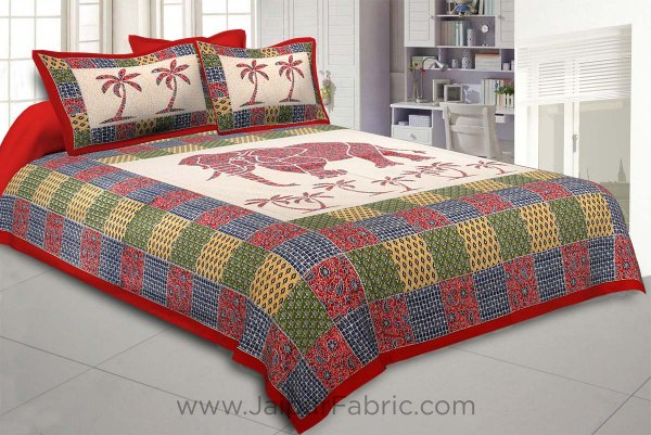 Reddish Ajrak Print Big Elephant Double BedSheet