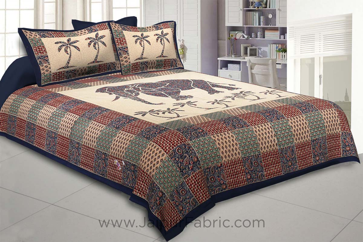 Blueish Ajrak Print Big Elephant Double BedSheet