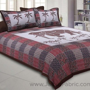 Brownish Ajrak Print Big Elephant Double BedSheet