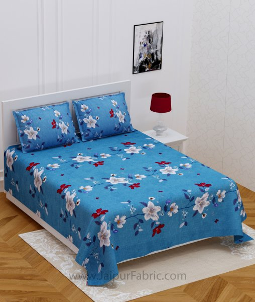 Floral Climber Sky Blue Double Bedsheet