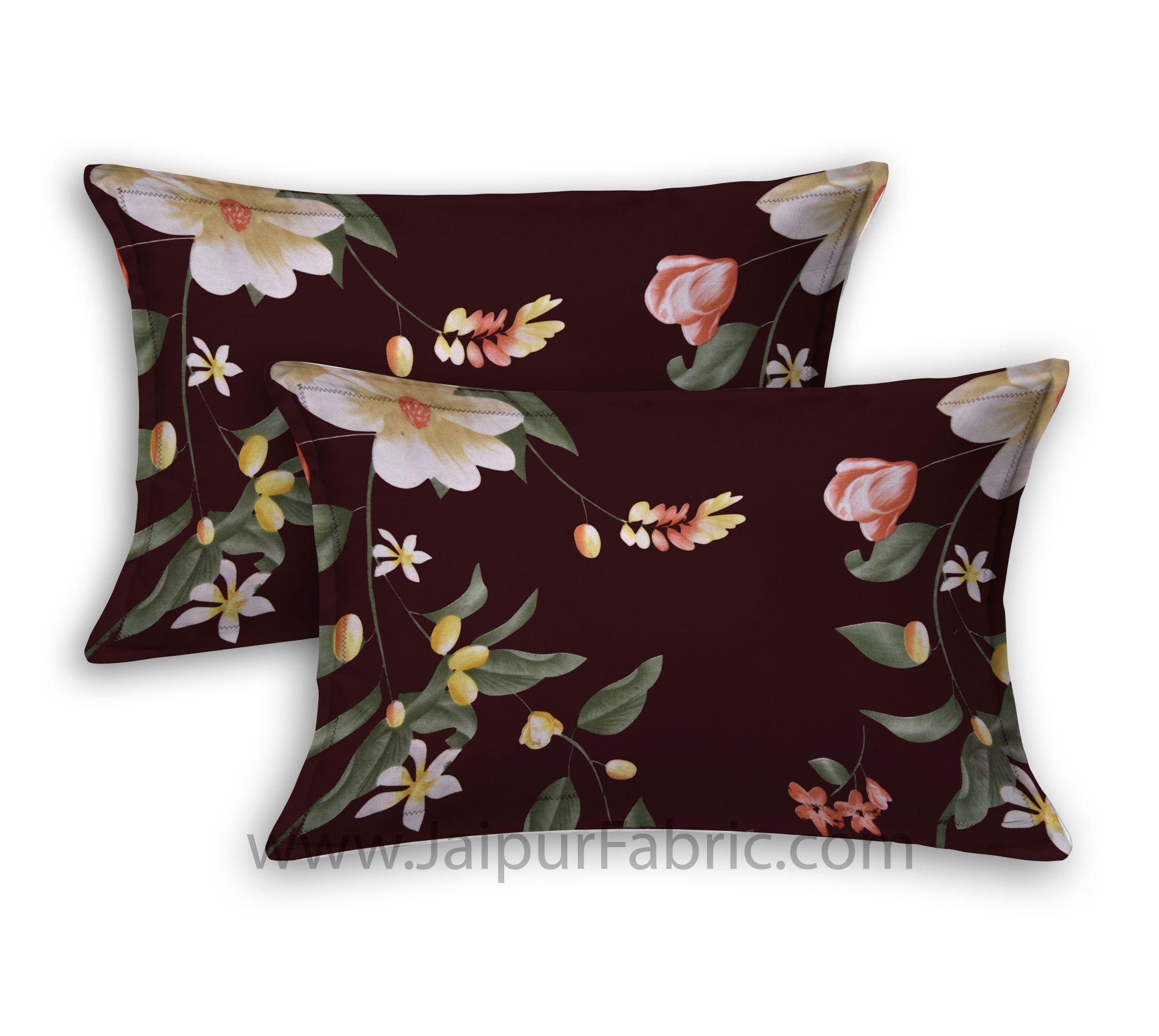 Floral Climber Brown Double Bedsheet