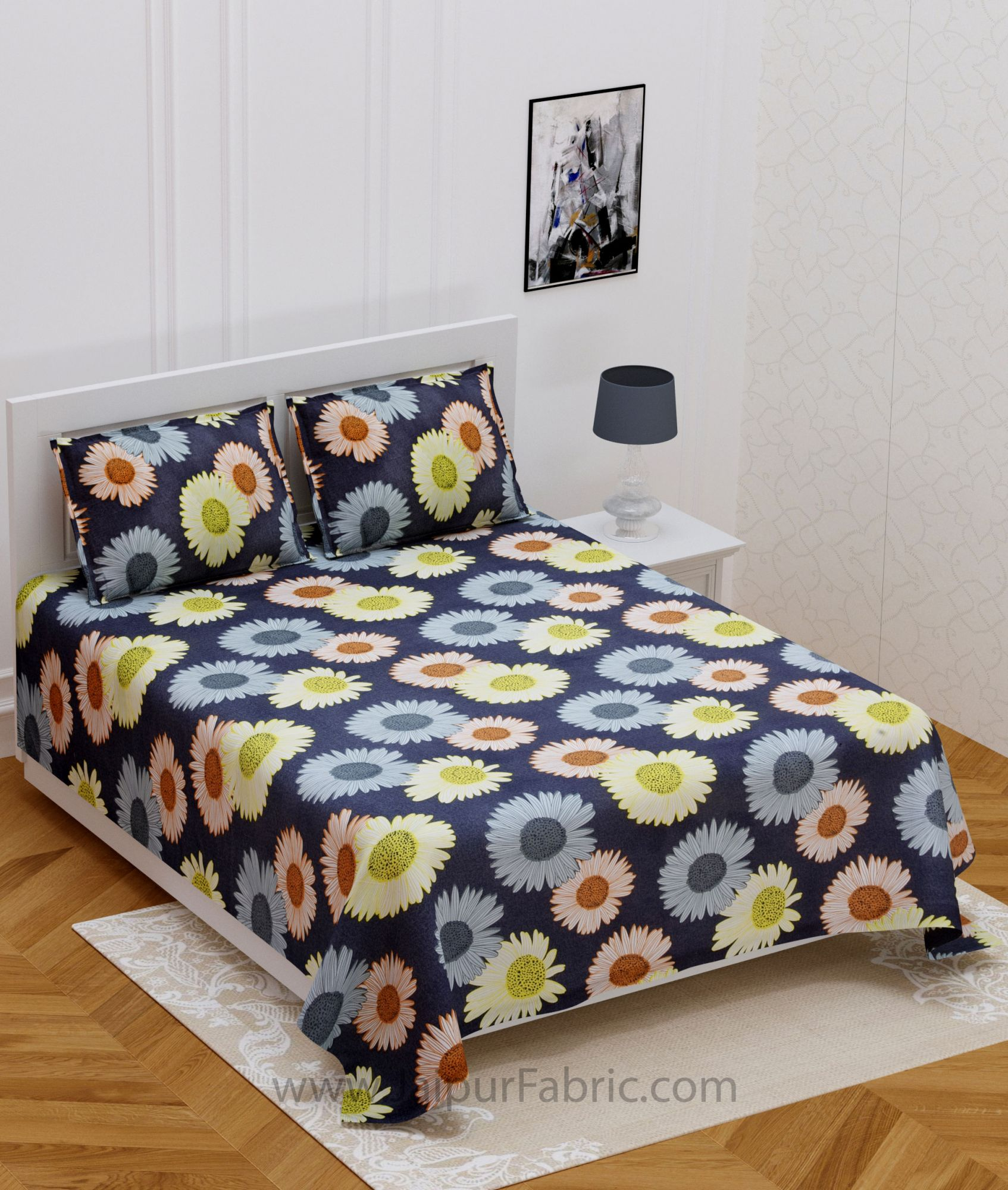 Daisy Flowers Colorful  Double Bedsheet