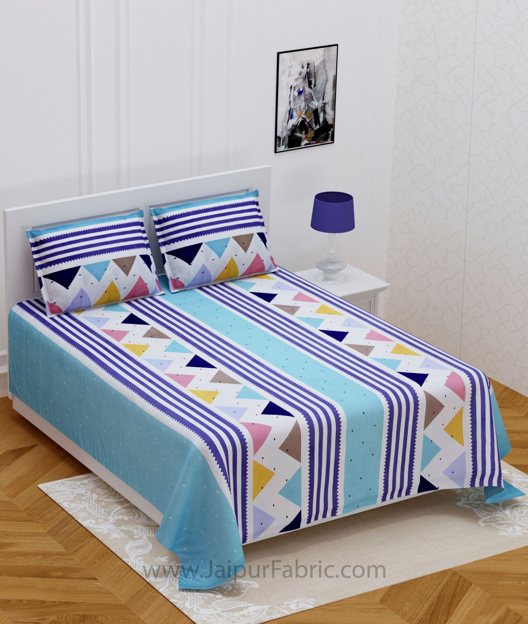 Colorful Triangles Blue Double Bedsheet