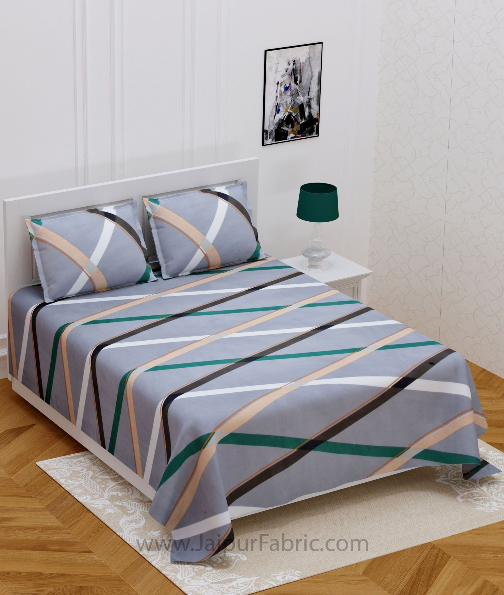 Crossing Lines Grey Double Bedsheet