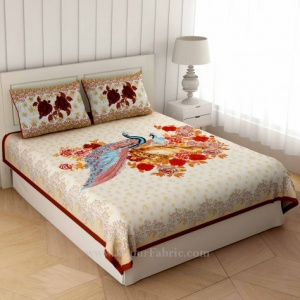 Peacock Garden Brown Border Double Bedsheet