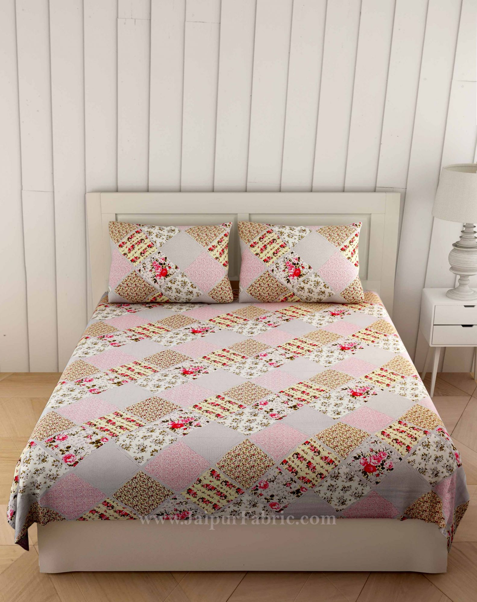 Ethnic precision Pink Grey Double Bedsheet