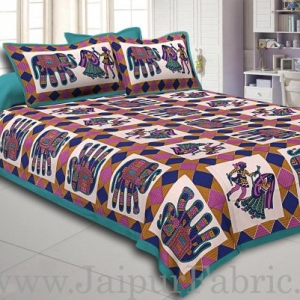 Firozi Border Elephant and Rhombus Pattern Screen Print Cotton Double Bed Sheet
