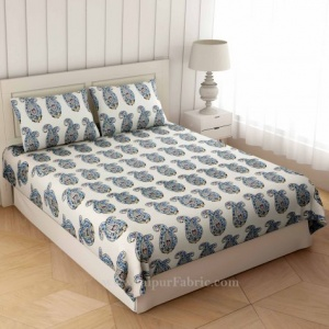 Blue Floral Icon Print Double Bedsheet