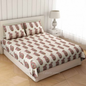 Red Floral Icon Print Double Bedsheet