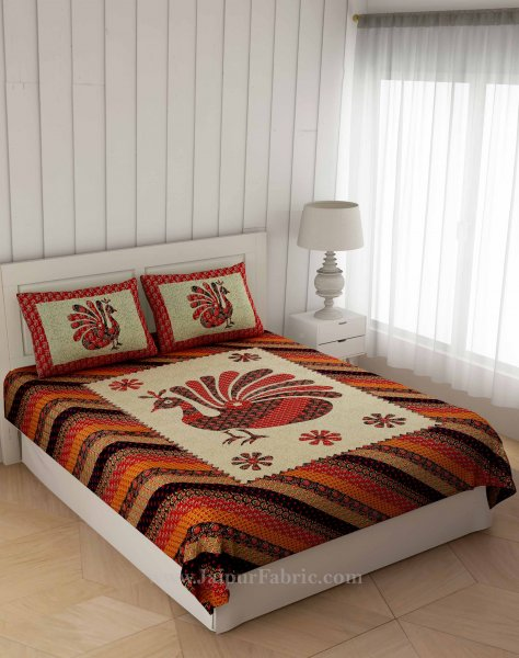 Red Ajrak Print Peacock Double Bedsheet