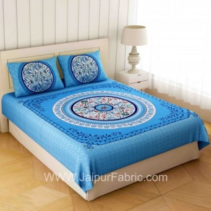Rich Rangoli Blue Double Bedsheet