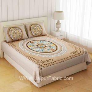 Rich Rangoli Brown Double Bedsheet