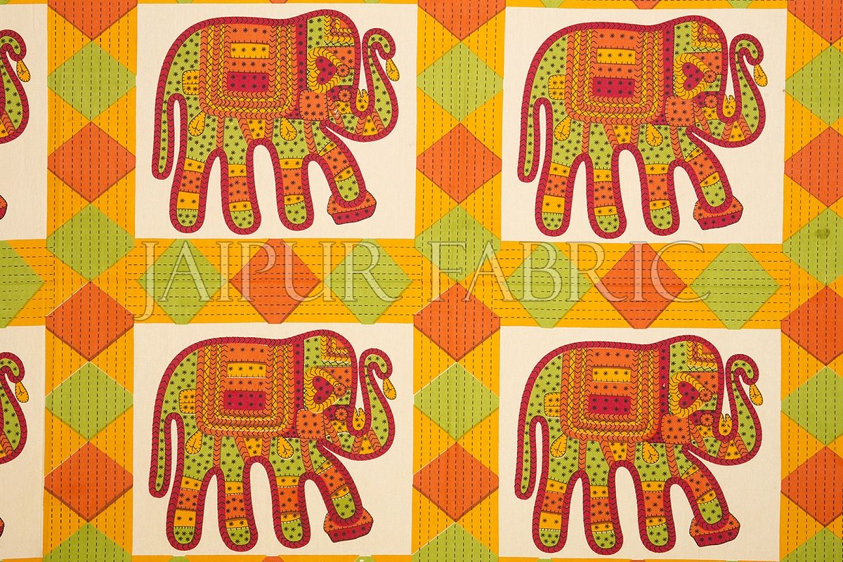 Blue Border Elephant and Rhombus Pattern Screen Print Cotton Double Bed Sheet