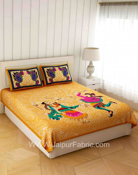 Gorgeous Garba Light Gold Double Bedsheet