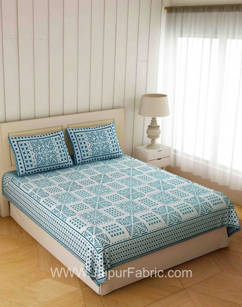 Symmetrical Blueish Grey Square Double Bedsheet
