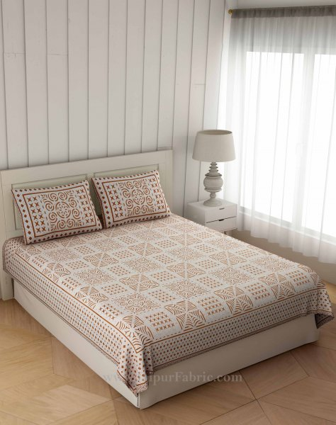 Symmetrical  Sandy Brown Square Double Bedsheet