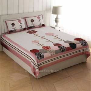 Germinating Pink Flowers  Double Bedsheet
