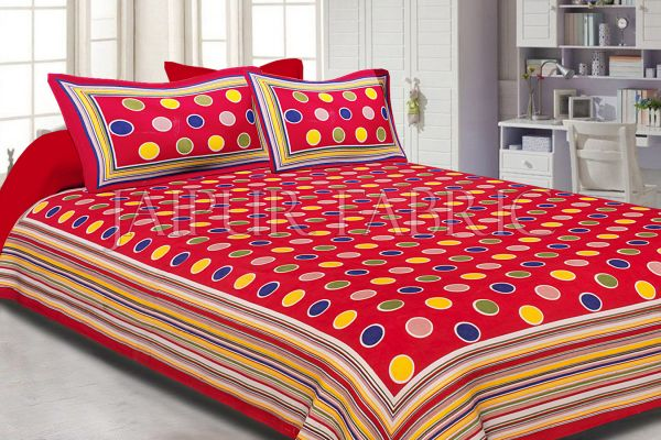 Maroon Base Multi Color Polka Dot Pattern Screen Print Cotton Double Bed Sheet