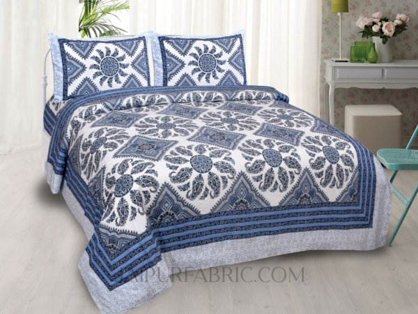 Folk Design Blue Double Bedsheet