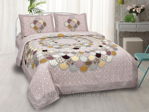 Colorful Discoid Peach Double Bedsheet