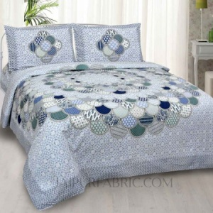 Colorful Discoid Blue Double Bedsheet