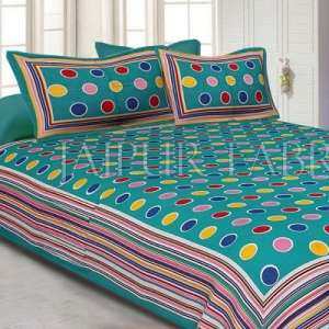 Sea Green Base Multi Color Polka Dot Pattern Screen Print Cotton Double Bed Sheet