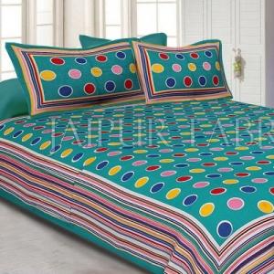 Sea Green Base Multi Color Polka Dot Pattern Screen Print Cotton Double Bed Sheet