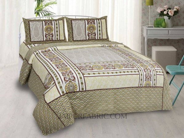 Designer Scales Yellow Double Bedsheet