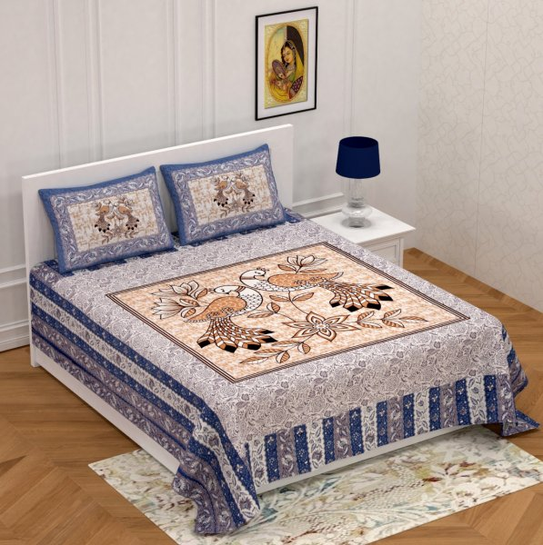 National Bird Blue Double Bedsheet