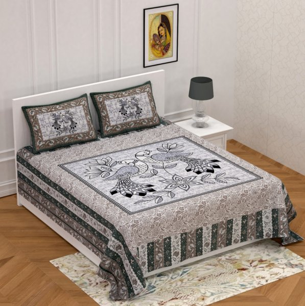 National Bird Grey Double Bedsheet