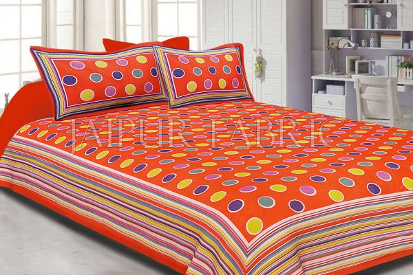 Orange Base Multi Color Polka Dot Pattern Screen Print Cotton Double Bed Sheet