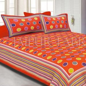 Orange Base Multi Color Polka Dot Pattern Screen Print Cotton Double Bed Sheet