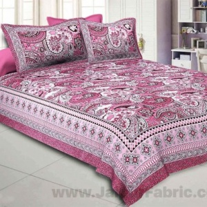 Floral Ripples Pink Double Bedsheet