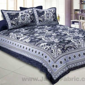 Floral Ripples Grey Double Bedsheet