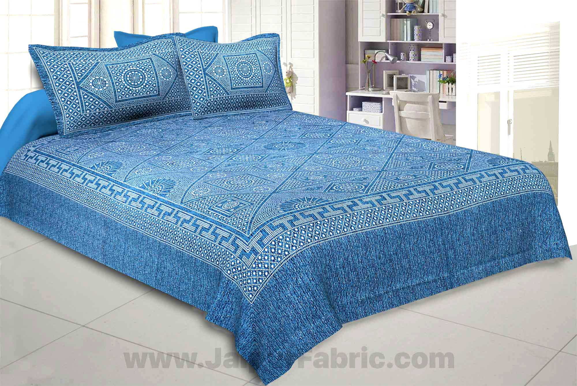 Pearl Array Blue Double Bedsheet