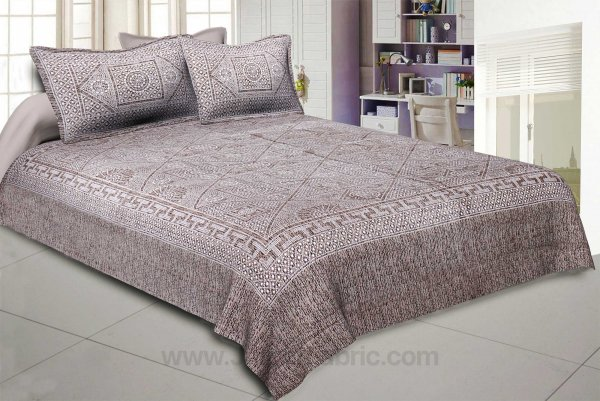 Pearl Array Brown Double Bedsheet