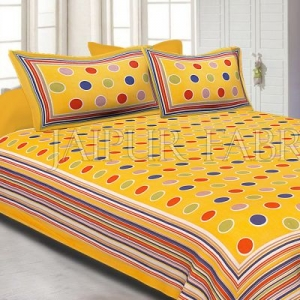 Yellow Base Multi Color Polka Dot Pattern Screen Print Cotton Double Bed Sheet