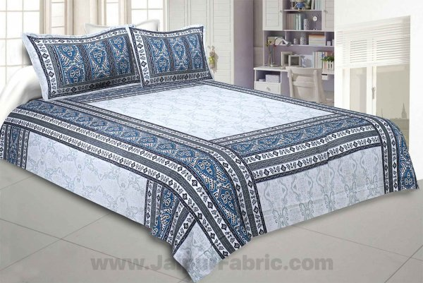 Artistic Quadrangle Blue Double Bedsheet