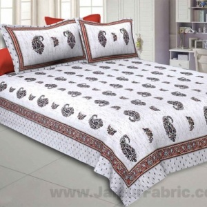 Marble Italica Red White Double Bedsheet