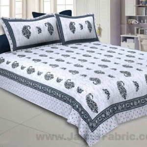 Marble Italica Green White Double Bedsheet