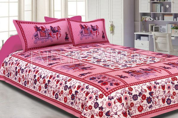 Pink Border White Base Barat Pattern Screen Print Cotton Double Bed Sheet