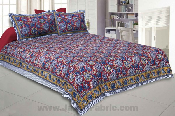 Awesome Mausam Maroon Double Bedsheet
