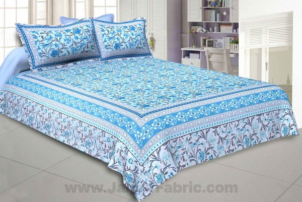 Awesome leaves Blue Cream Double Bedsheet