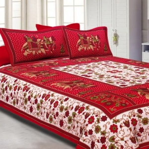 Red border with barat pattern double bed sheet