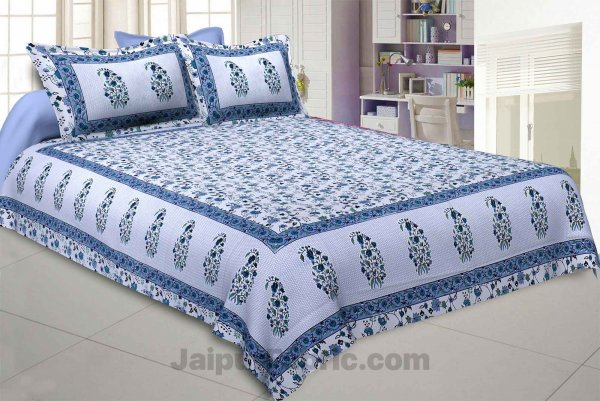 Marble Italica Blues White Double Bedsheet