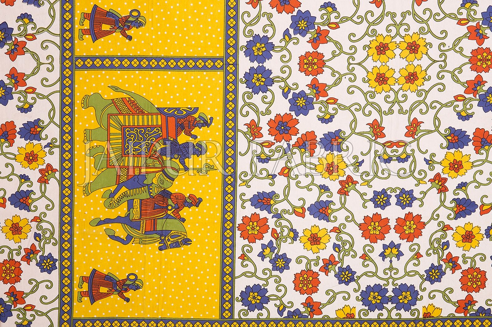Yellow Border White Base Barat Pattern Screen Print Cotton Double Bed Sheet