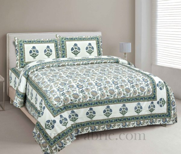 Pure Cotton Green Color Floral Ethnic Jaipuri Double Bedsheet